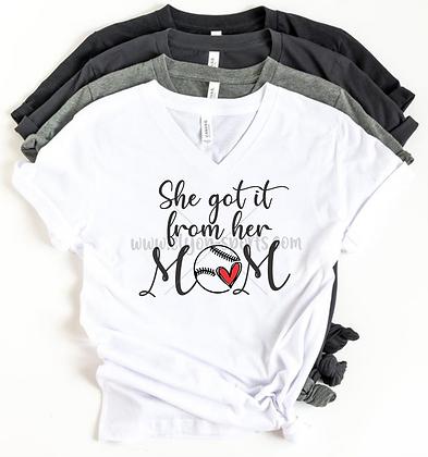 She Got It From Her Mom V-Neck
