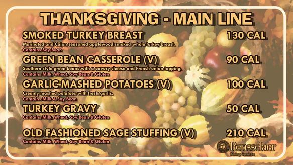 Thanksgiving Main Line Menu
