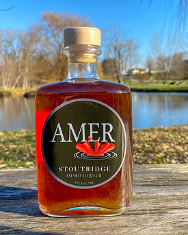 AMER (Amaro Liqueur)  Amer is a traditional, richly flavorful, bitter-sweet liqueur.    Based on bitter oranges but with added botanicals similar to the ones used in gin expressly for bitterness and color.     Finished off with a non-cloying but pleasant sweetness.    This spirit is as complex and subtle as the best wine, but with the intensity of a spirit.   Offered only at the distillery 68 proof 100% Hudson Valley Grain