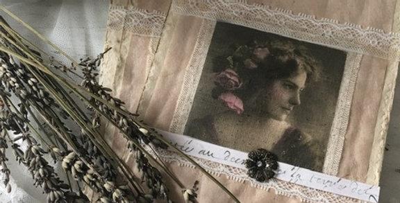 Karte-Bild zum hängen Lady in rose- Picture