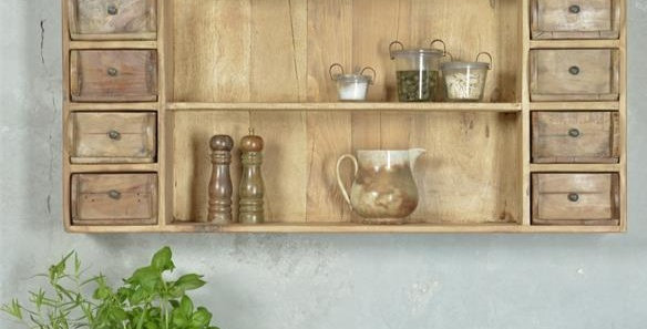 Wand Regal mit 12 Schubladen -Recyceltes Holz - Wall shelf