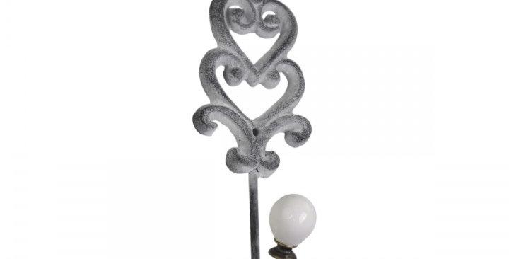 Hacken mit Porzellan antike grau & Herzdekor -hook