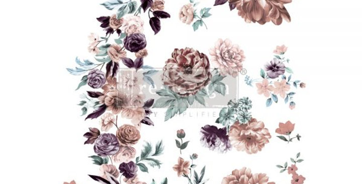 Burgundy Rose Garden Decor Transfers -
