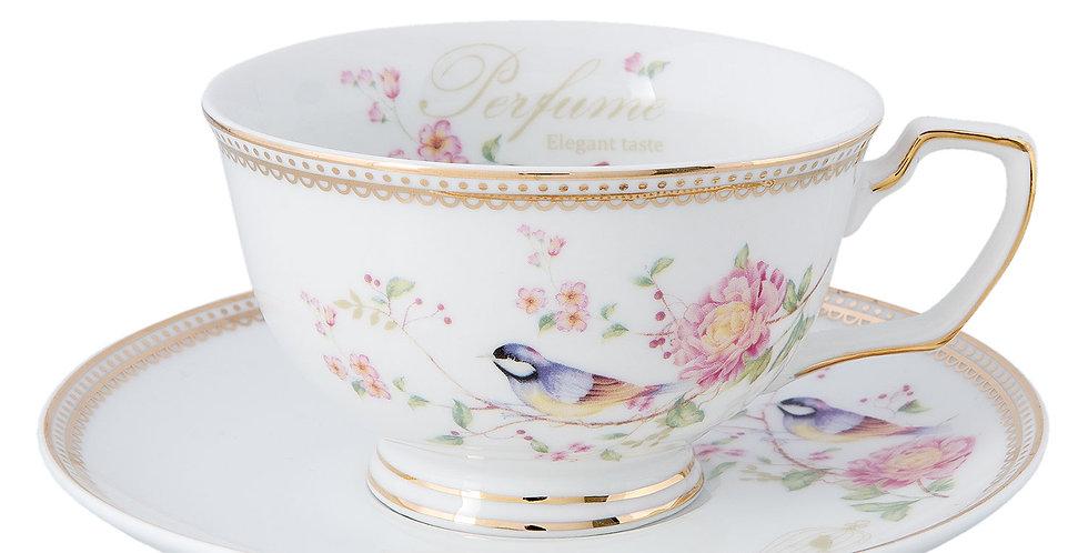 Tasse & Teller- Vogel-Cup and saucer