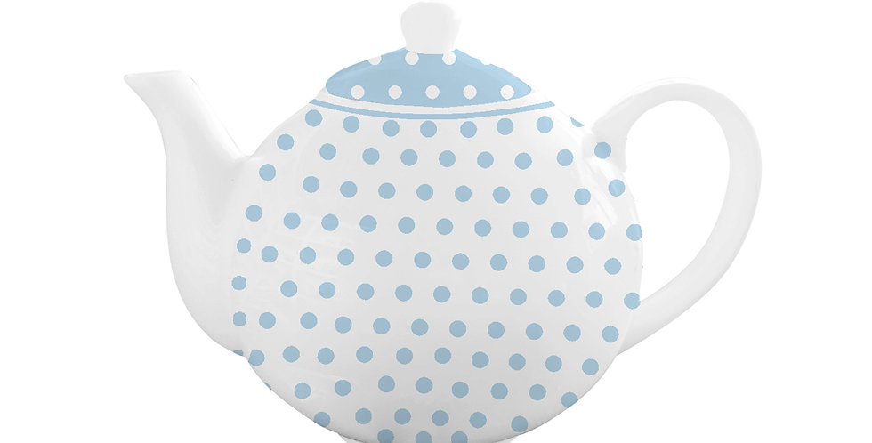 Teekanne  polka dots pastel blau- tea pot