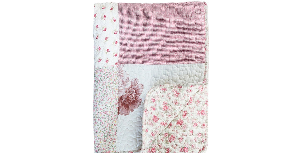 Decke antique Rosa- Quilt with flowers