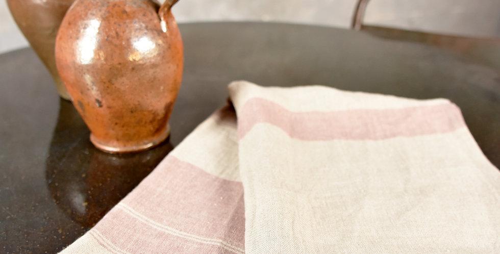 Geschirrtuch Neutral mit Rosa Streifen - Dishtowel