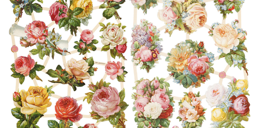 Vintage Glanzbilder -Die cuts Roses Type lma
