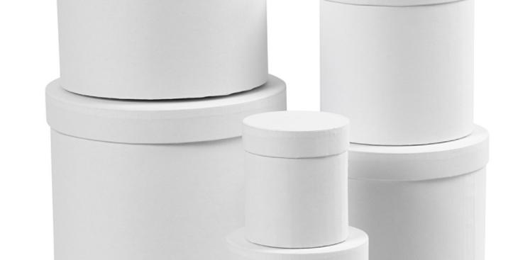 Schachtel Hoch weiss- high round white boxes