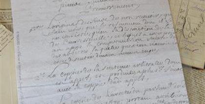 Blatt mit französischen Text - Sheet with old French text.