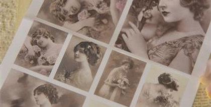 Blatt mit schönen Frauen - Sheet with beautiful women.