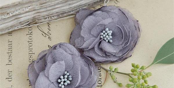 Stoffblumen grau fabric flowers grey