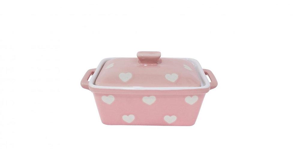 Butter dish pink heart