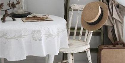 Runde Tischdecke m. handgemachte Stickerei weiss-creme-round table cloth