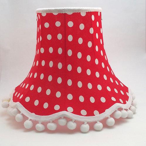 """12"""" CHATSWORTH  WHITE SPOT ON RED-  Pom Pom"""