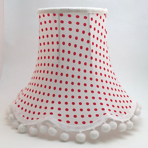 "12"" CHATSWORTH  RED SPOT ON WHITE-  Pom Pom"