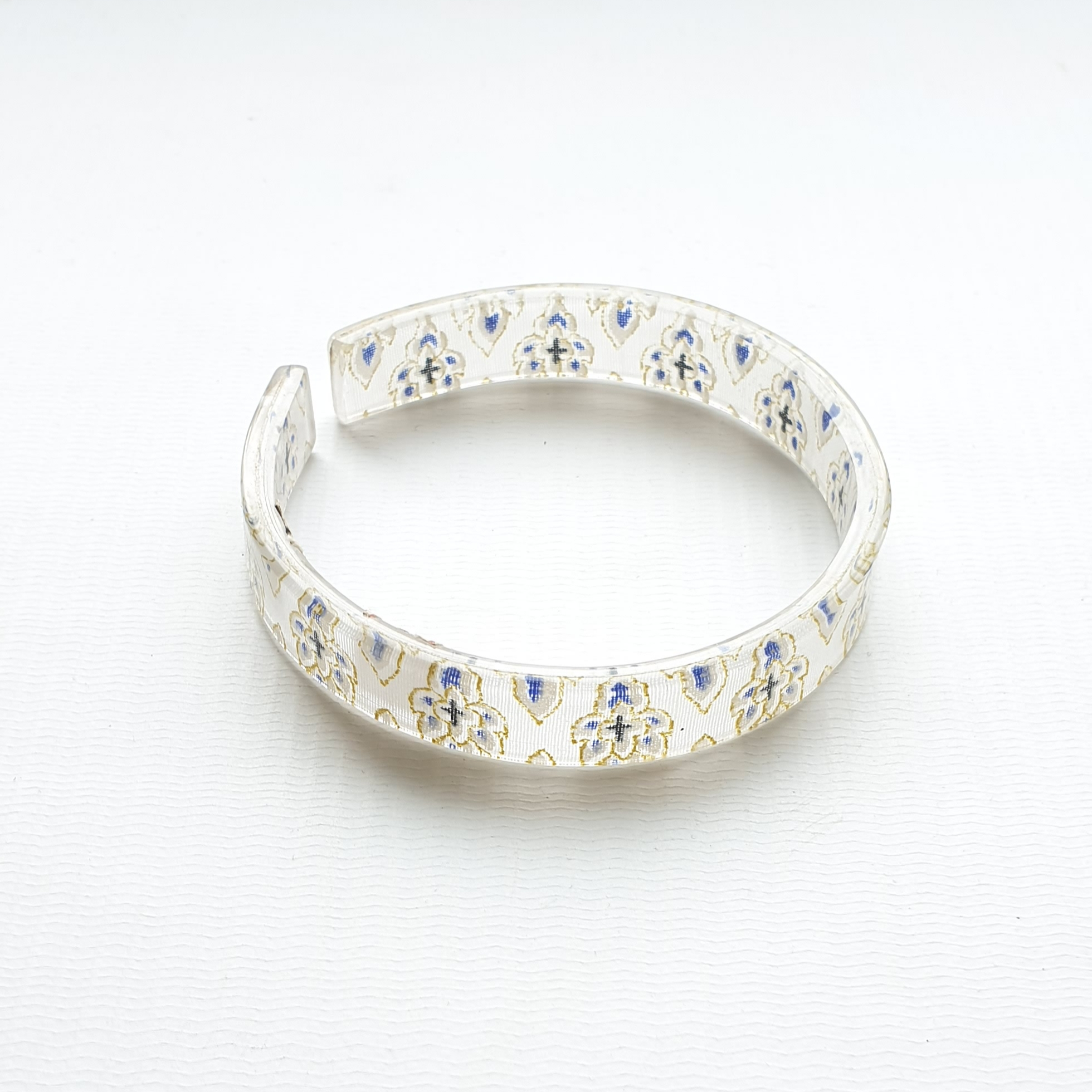 bracelet resin print white/gold/navy