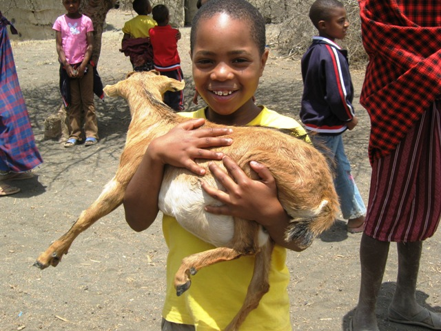 Halima with a baby goat