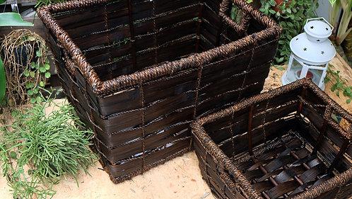 Large Rectangular Dark Brown Ash Basket