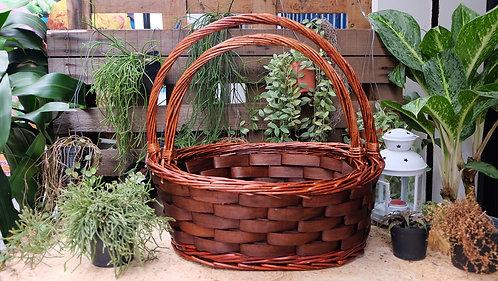 Medium Red Brown Oval Ash Basket