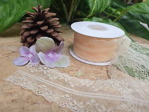 Cream Lace Ribbon - ริบบิ้นผ้าลูกไม้สีครีม