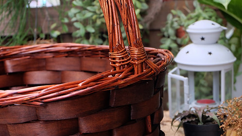Large Red Brown Oval Ash Basket