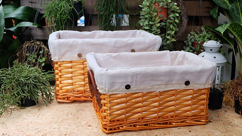 Small Rectangular Natural Wicker Deep Storage Basket