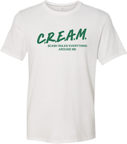 White T-Shirt with Green C.R.E.A.M Design