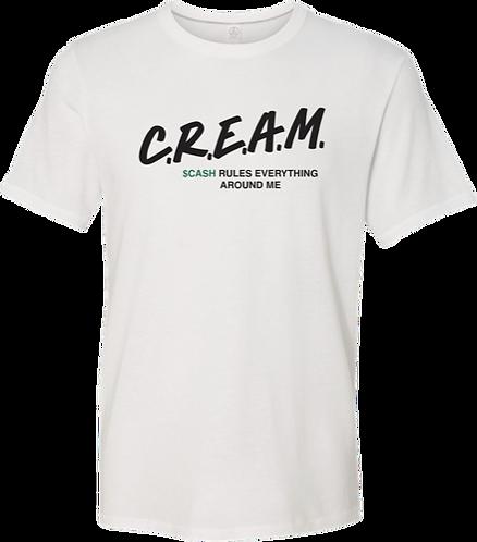 White T-Shirt with Black C.R.E.A.M Design