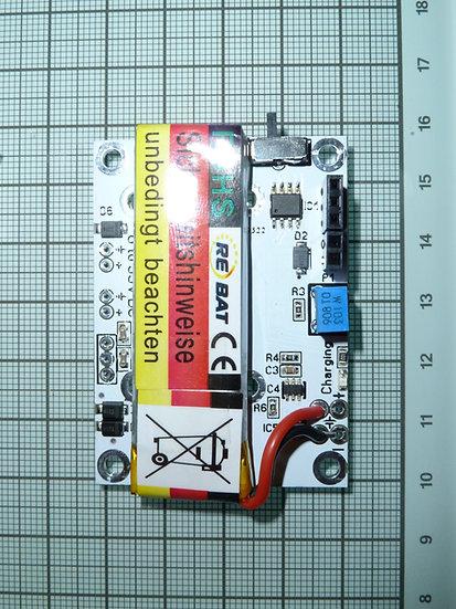 1S 600mAh LiPo battery and charging board.