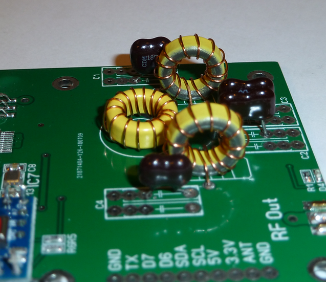 THT Silver Mica and T50 Low Pass filter components for WSPR-TX_LP1