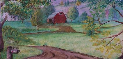 Rural Winding_watercolo by J N Salsburey