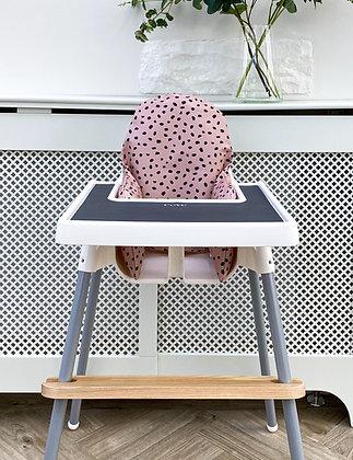 Dusky pink Dalmatian wipeable cushion cover Ikea highchair