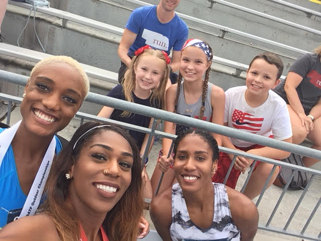 Someone worked up the courage to ask for a selfie with the winners of the women's 800m: Ce'aira Brown (3rd), Raevyn Rogers (2nd), Ajee Wilson (1st)