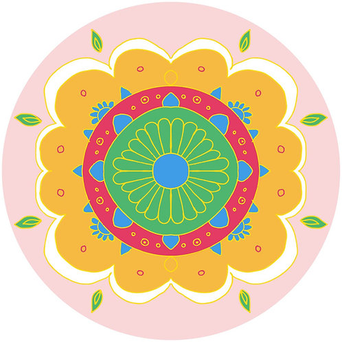 Diwali Highlights on Canvas Circle Floral (4X4 inch, Sets of 2,4,6)