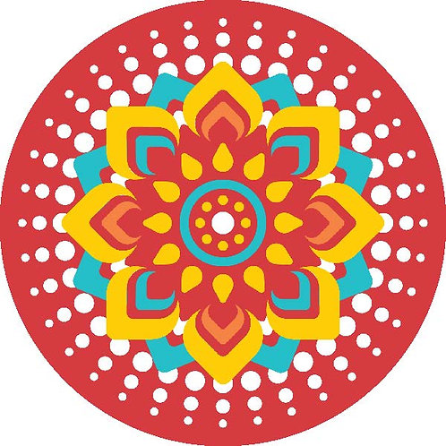 Diwali Highlights on Canvas Circle Mandala (4X4 inch, Sets of 2,4,6)