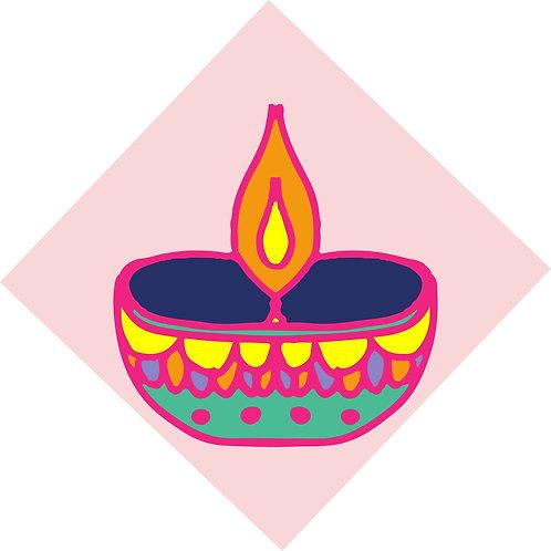 Diwali Highlights on Canvas Square Diya (4X4 inch, Sets of 2,4,6)