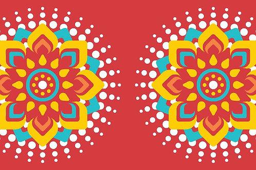 Floor Runner on Canvas Red Mandala (4X24 inch)