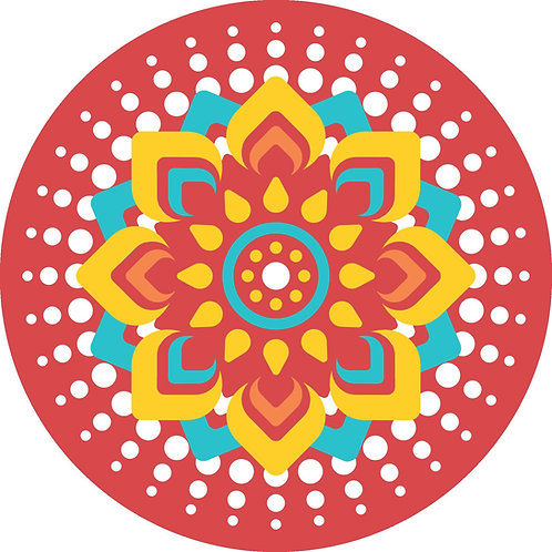 Rangoli on Canvas Red Mandala Circle (12 X12, 20X20 inch)