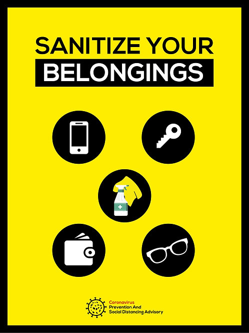 Sanitize your belongings