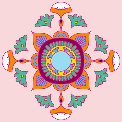 Rangoli on Canvas Pink Mandala Square (12 X12, 20X20 inch)