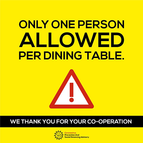 Only one person per dinning table