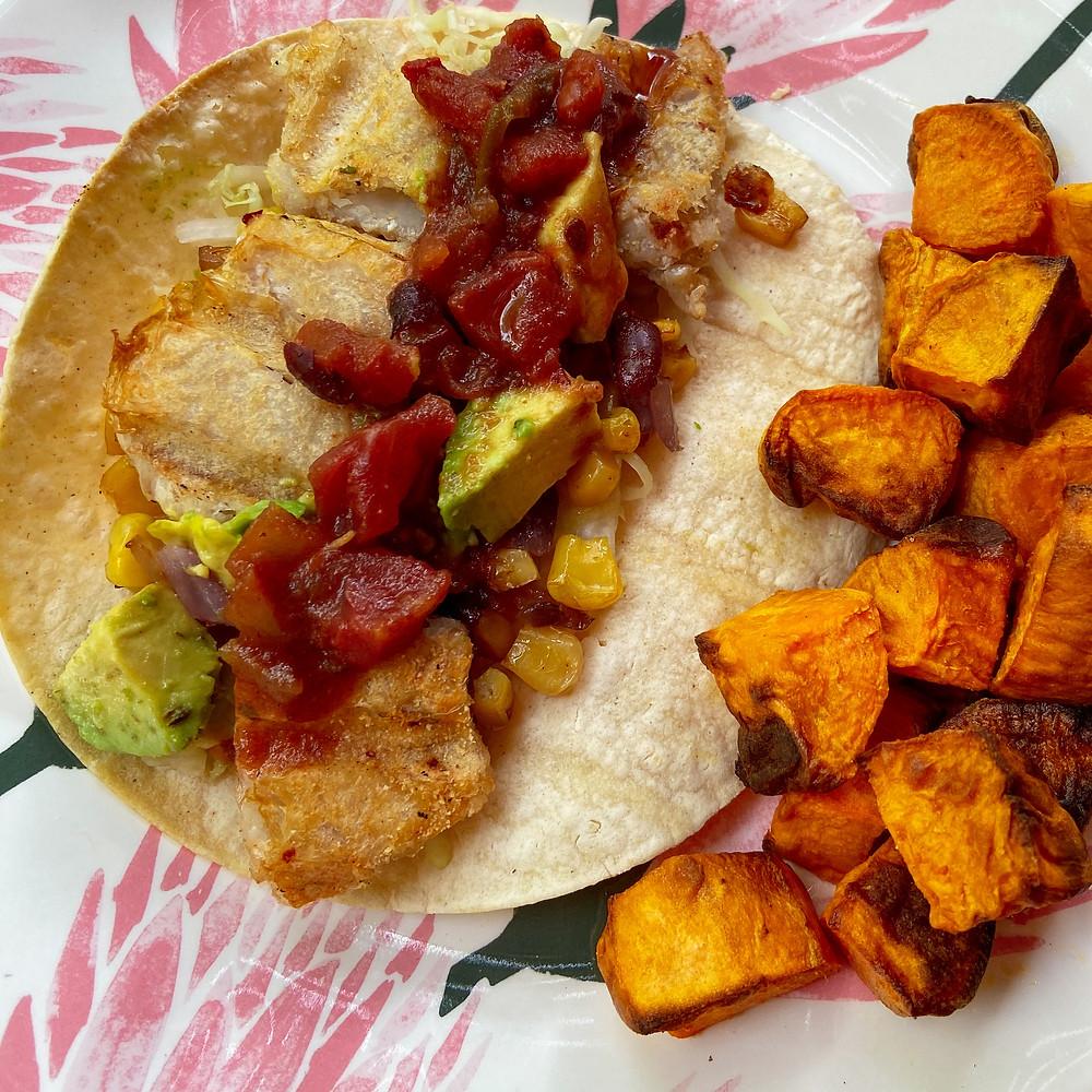 healthy, gluten-free fish tacos