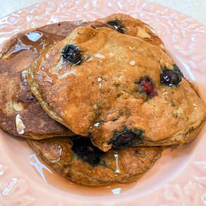Low Calorie High Protein Blueberry Banana Pancakes
