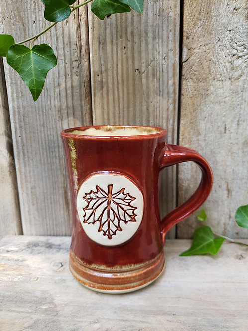 Red gold leaf mug