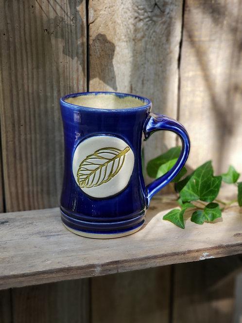 Cobalt leaf mug