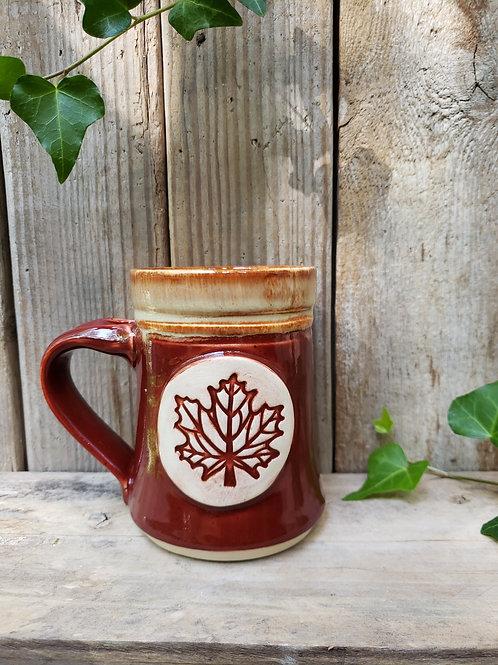 Red gold leaf mug