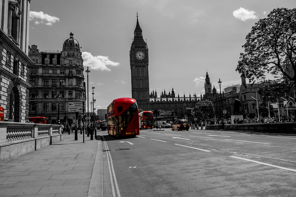 London, houses of parliament, big ben, london bus
