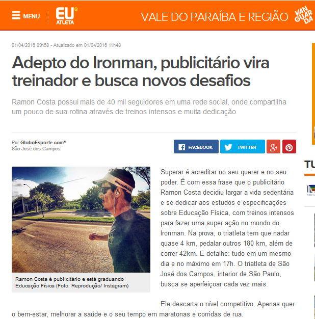 Matéria site Globo Esporte - Ramon Costa