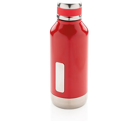 Leak proof vacuum bottle with logo plate